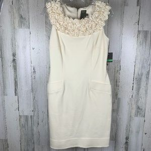 TAYLOR Cream Dress with Ruffle Floral Neckline NWT